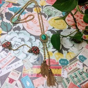 Avon Vintage Necklace & Vintage Red Sweater Clip